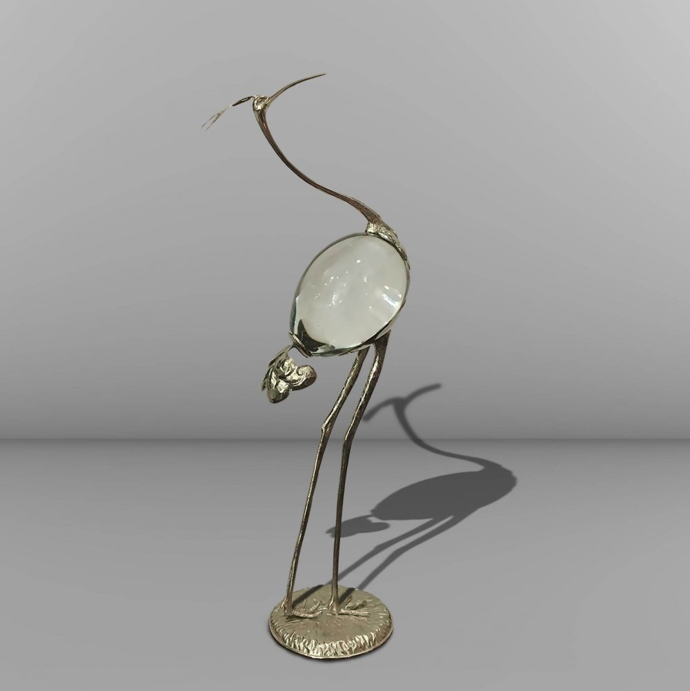 Sculpture in the shape of a crane, in chromed brass & Murano egg, signed