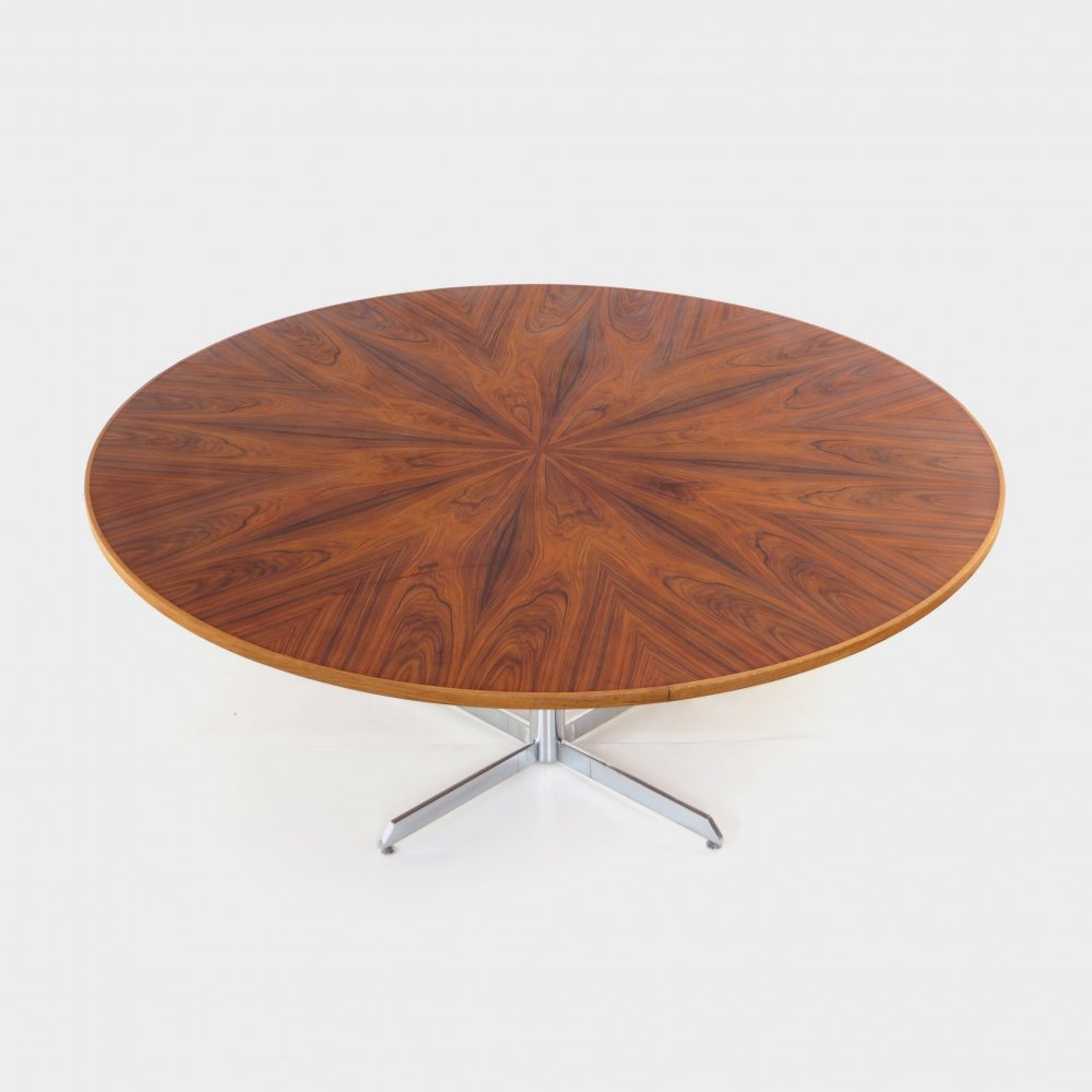 XL conference dining table with stunning walnut wood grain, 1960s