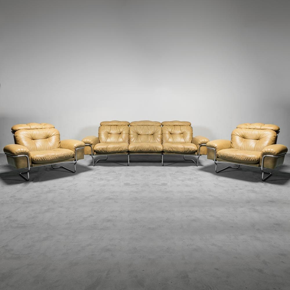 Seating group with sofa & two armchairs, 1970s