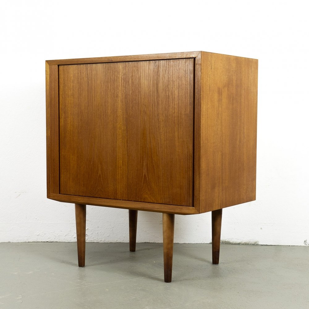 Small tambour door cabinet by Hundevad & Co., 1960s
