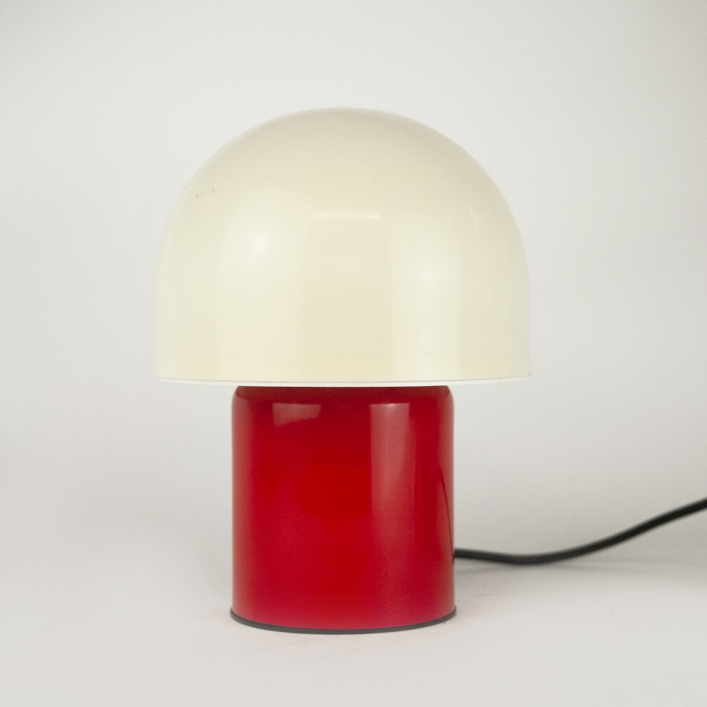 Red & White Mushroom Table Lamp by Dijksta Lampen, 1970s