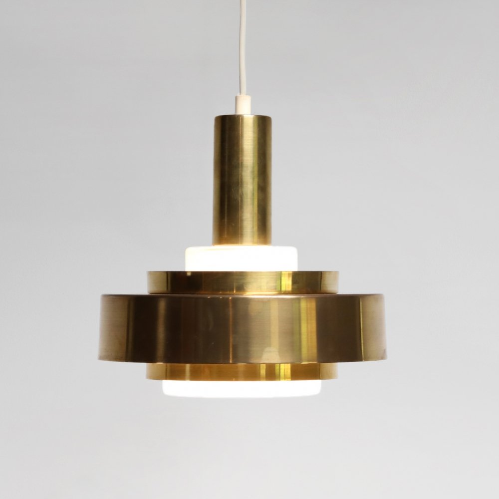 Glass Danish design hanging lamp with brass rings