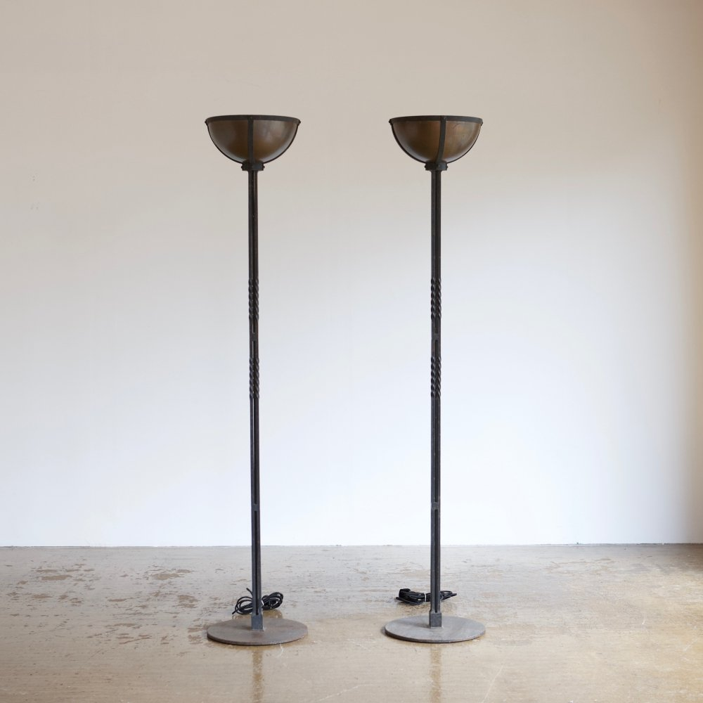 Pair of tall cast iron & brass floor lamps, 1980s