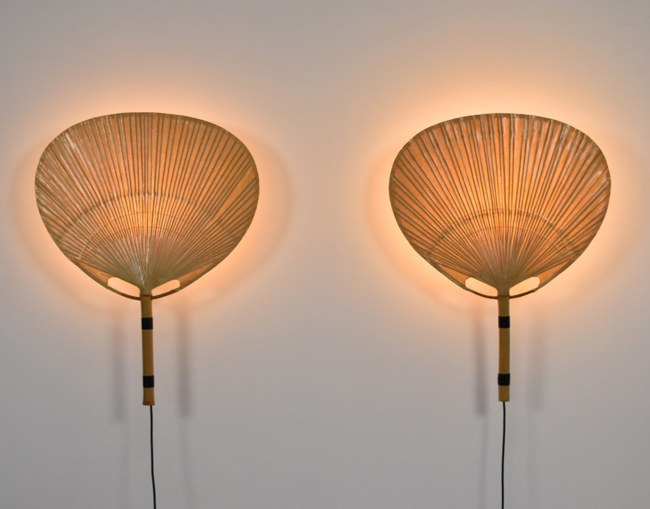 Pair of Uchiwa wall lamps by Ingo Maurer for M Design, 1970s