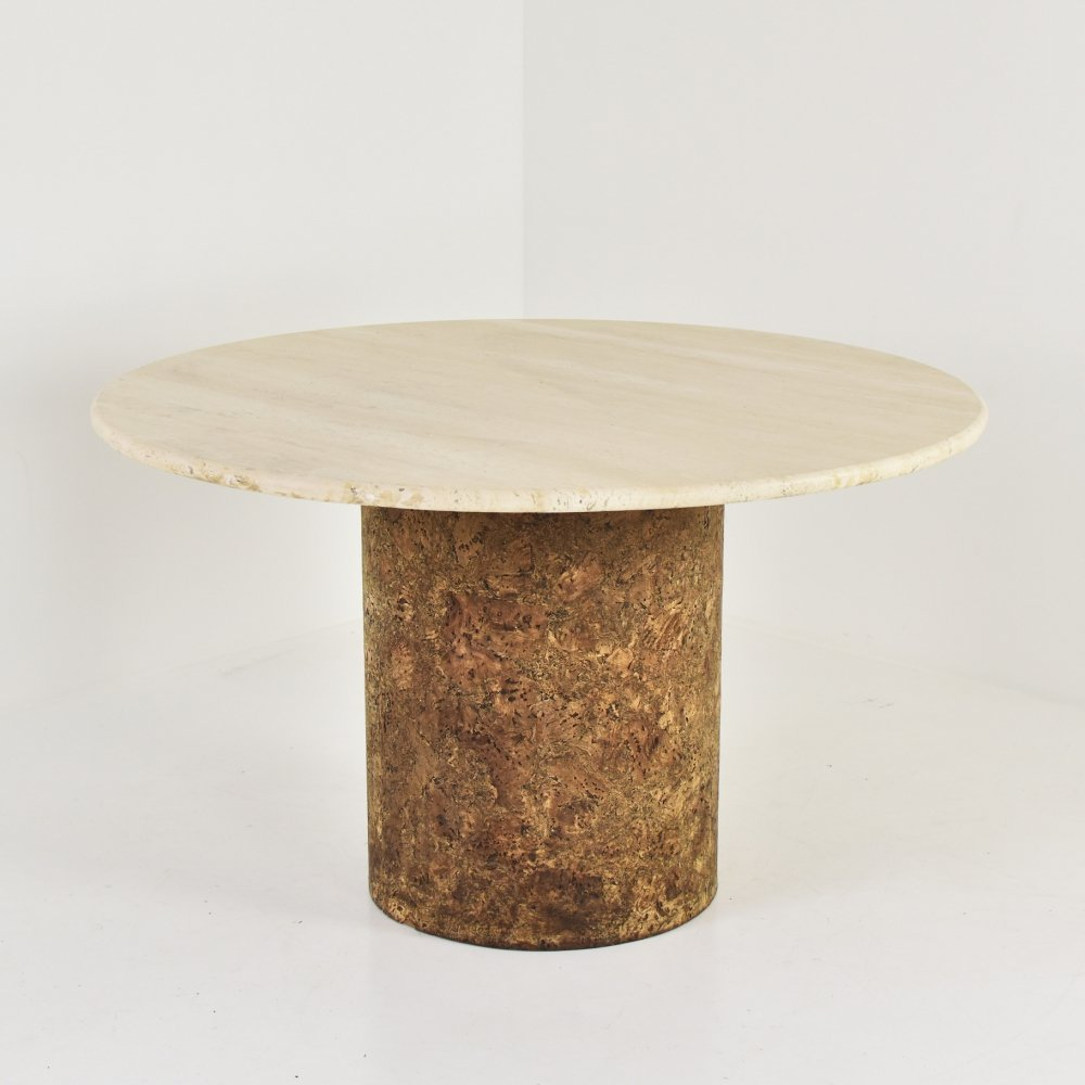 Dining table in travertine & cork, 1960