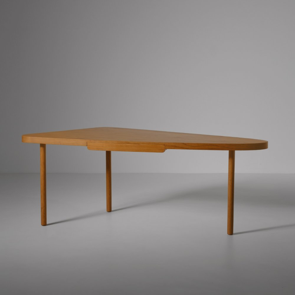 Free form desk in Ash wood, 1960s