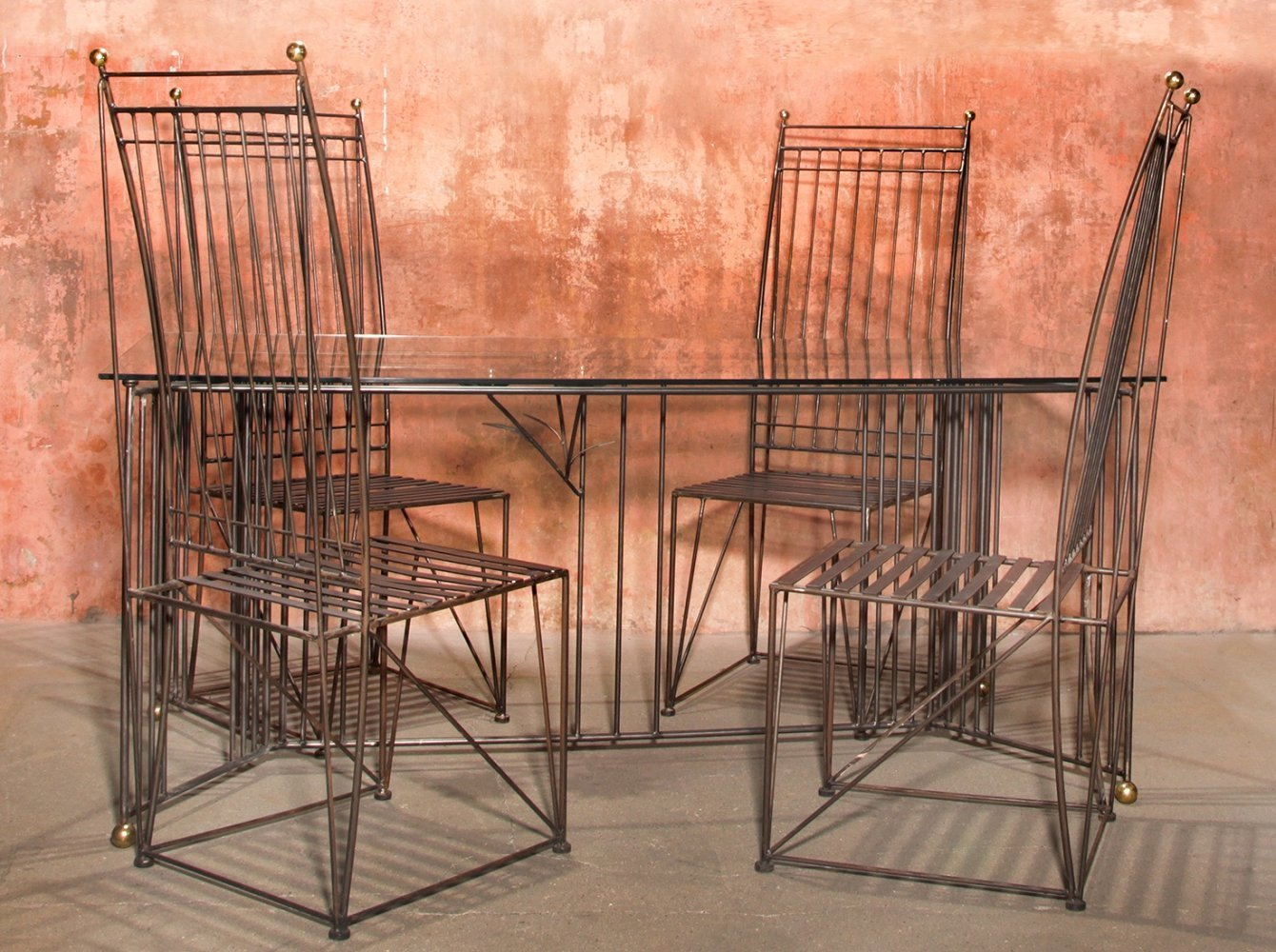 Welded Wire Metal Dining set with Glass Table & High Back Dining Chairs