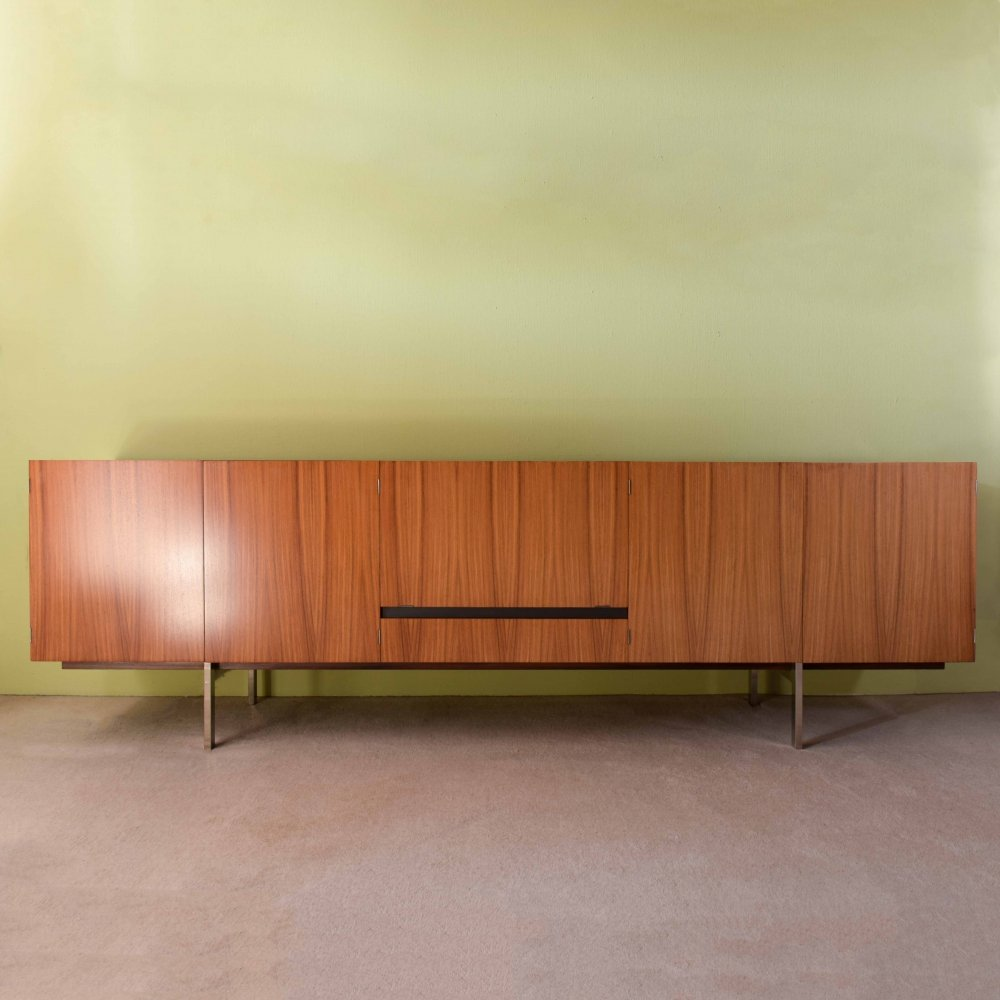 Rosewood sideboard with interior in maple & black glass, 1970s