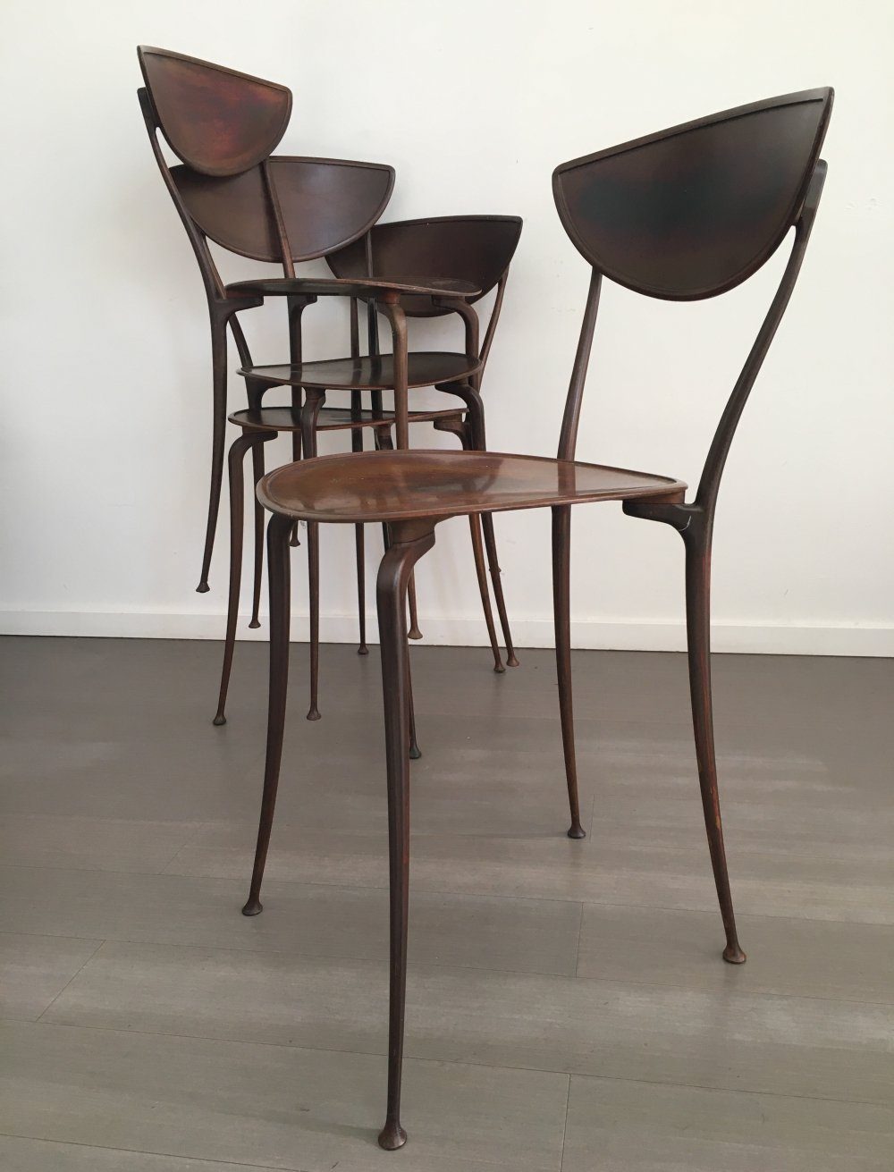 Set of 4 Arper dining chairs, 1980s
