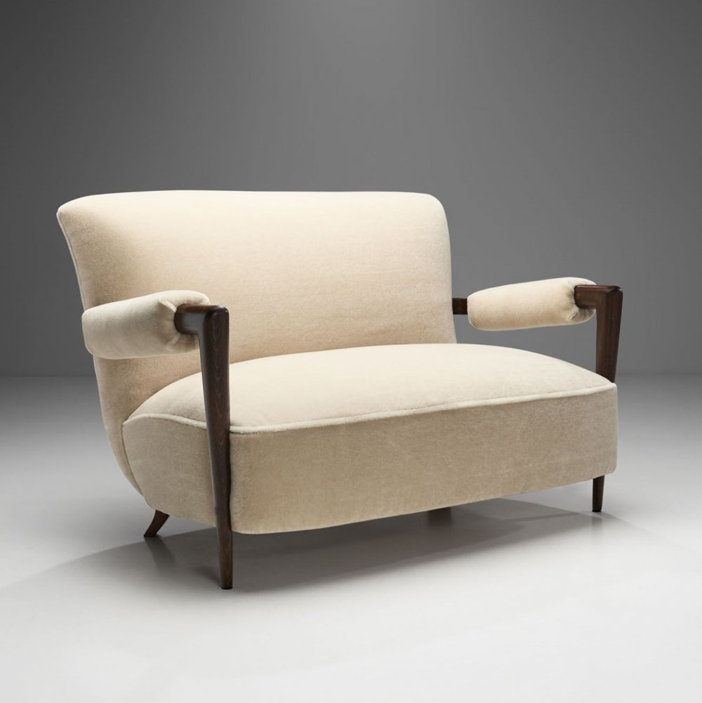 French Stained Wood Sofa with Cuffed Armrests, France ca 1940s