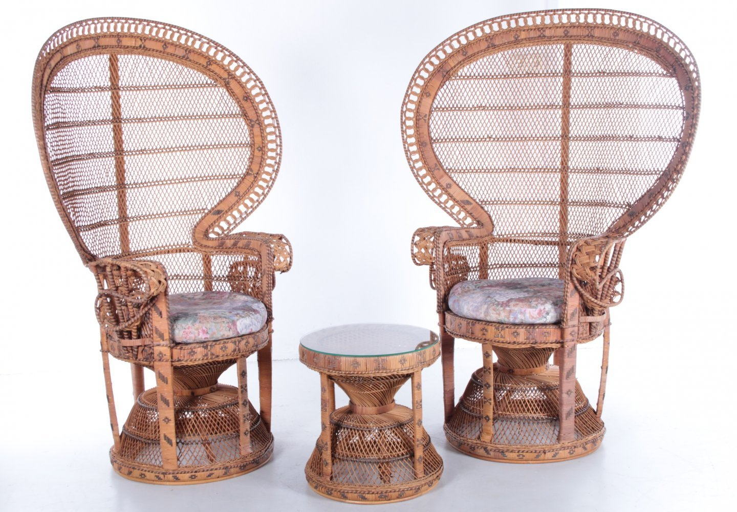 Set of two King Sized Emmanuelle Peacock Chairs with side table