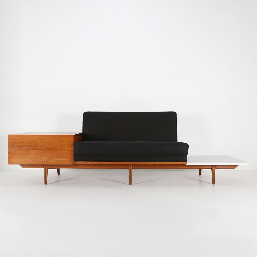 High quality bench with table & drawers, 1960s