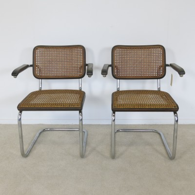 pair of s64 dinner chairs by marcel breuer for thonet 1980s 22031. Black Bedroom Furniture Sets. Home Design Ideas