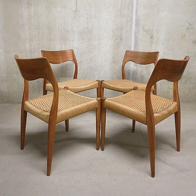 set of 4 model 71 dinner chairs by niels o møller for j l møller