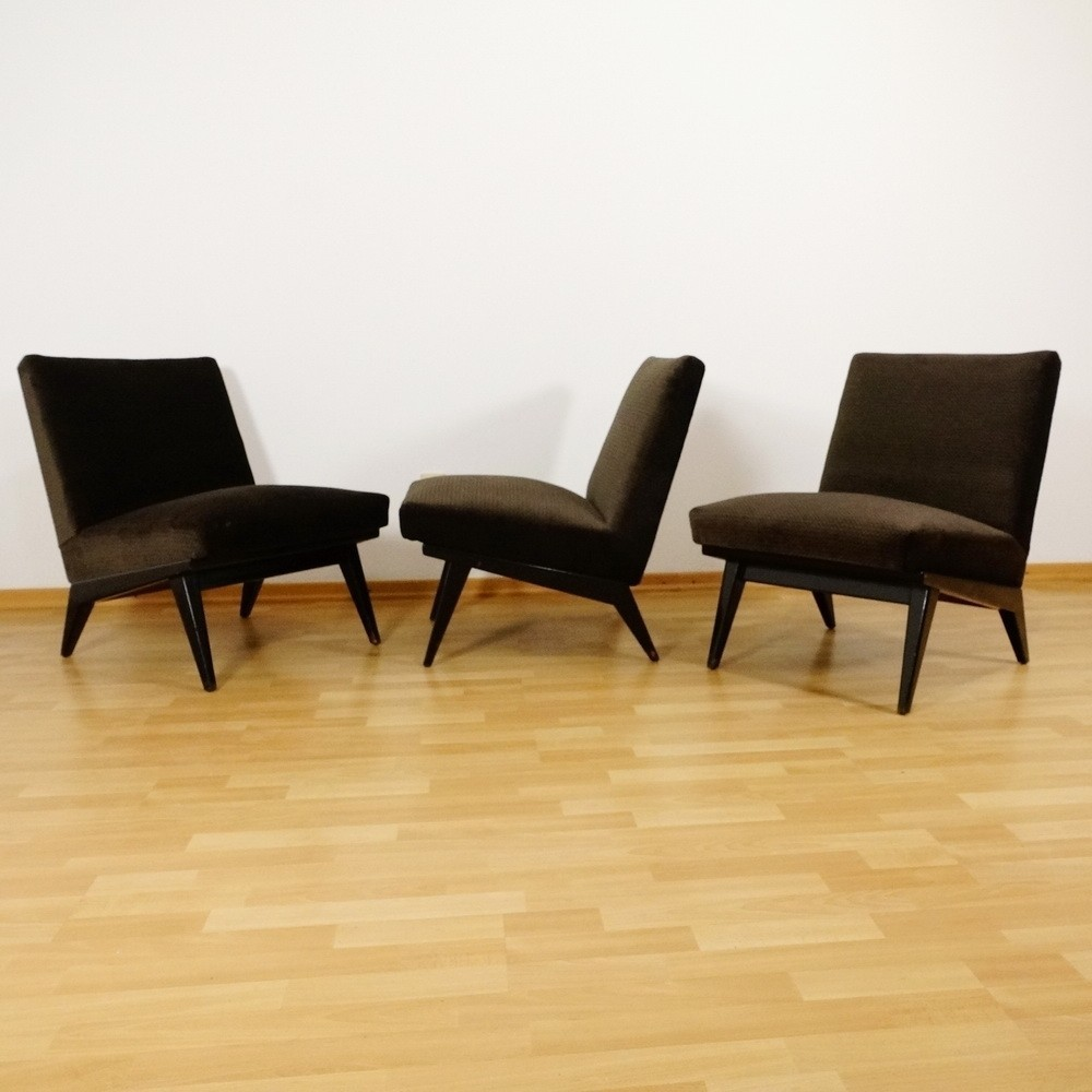 set of 3 fauteuil lounge chairs by florence knoll for. Black Bedroom Furniture Sets. Home Design Ideas