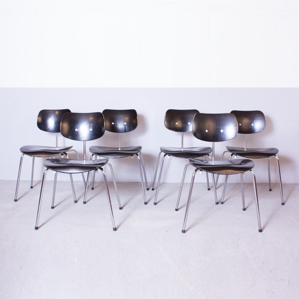 set of 6 se 68 dinner chairs from the fifties by egon. Black Bedroom Furniture Sets. Home Design Ideas