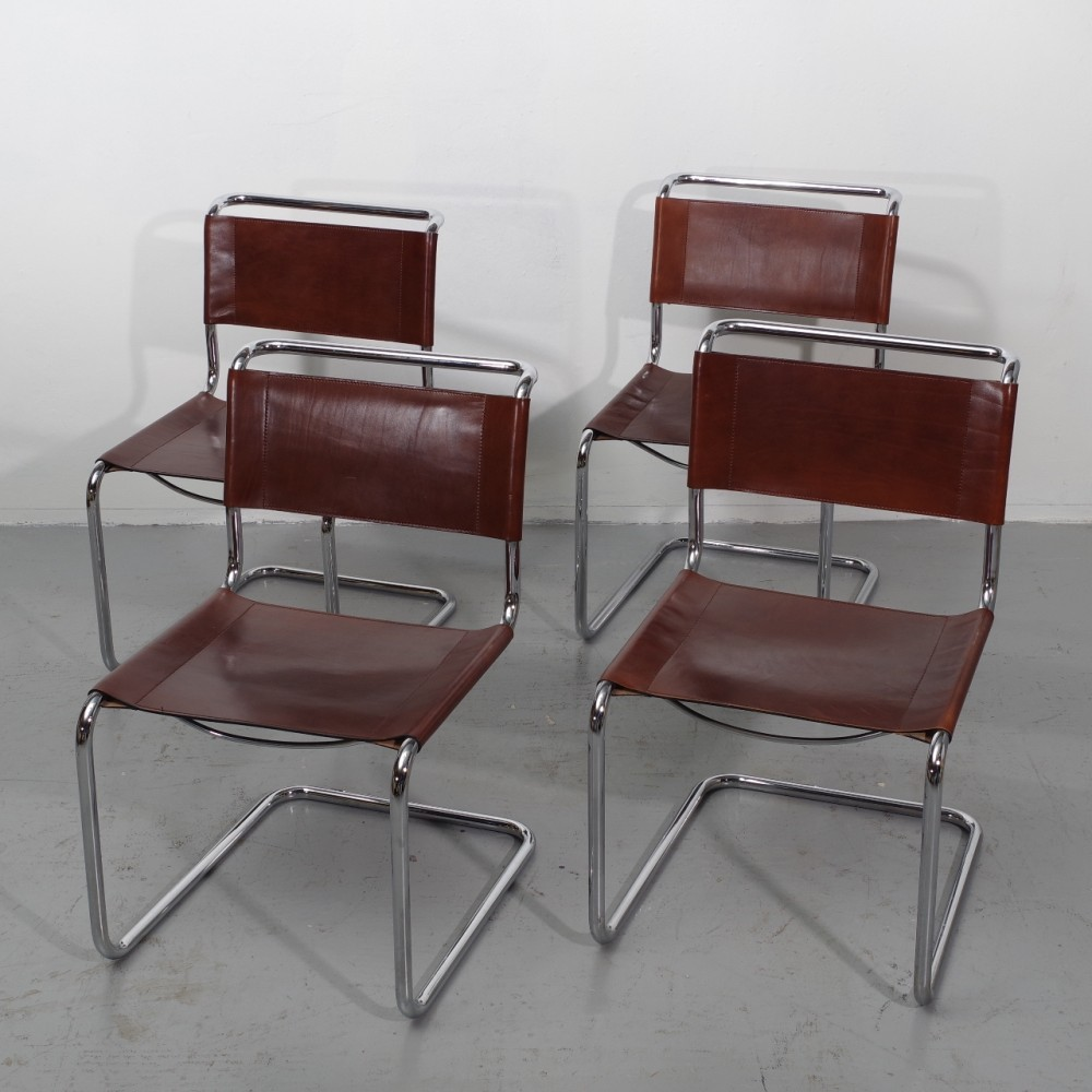 set of 4 cantilever dinner chairs by mart stam 1960s 42666. Black Bedroom Furniture Sets. Home Design Ideas