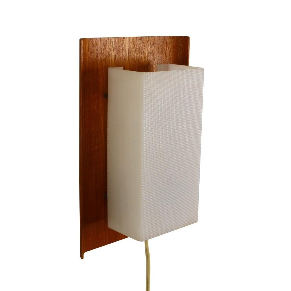 Wall Lights Made From Wood : Scandinavian wall light made of wood & plastic, 1960s #42920