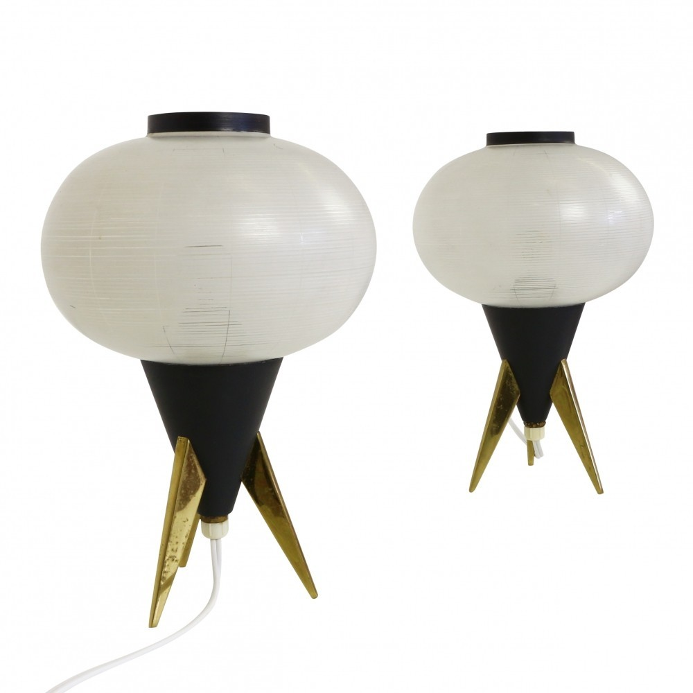 Pair Of Atomic Tripod Table Lights 1950s 47177