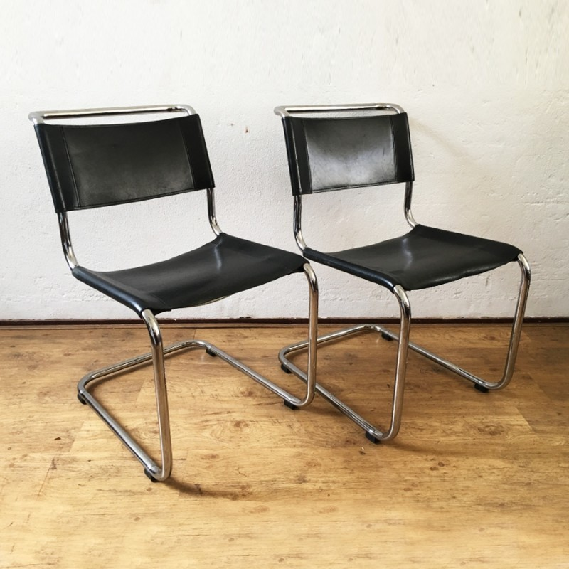 pair of s33 dinner chairs by mart stam for thonet 1940s 48525. Black Bedroom Furniture Sets. Home Design Ideas