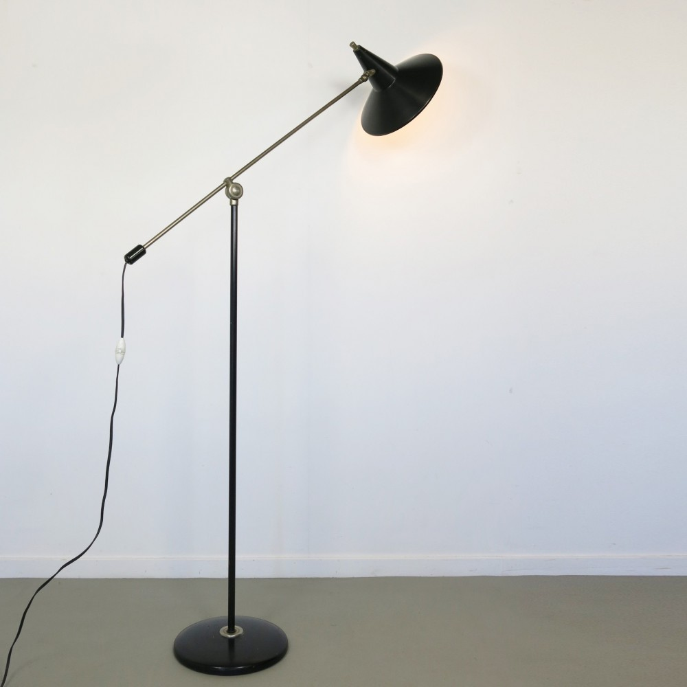 floor lamp by wim rietveld for anvia almelo 1960s 50132. Black Bedroom Furniture Sets. Home Design Ideas