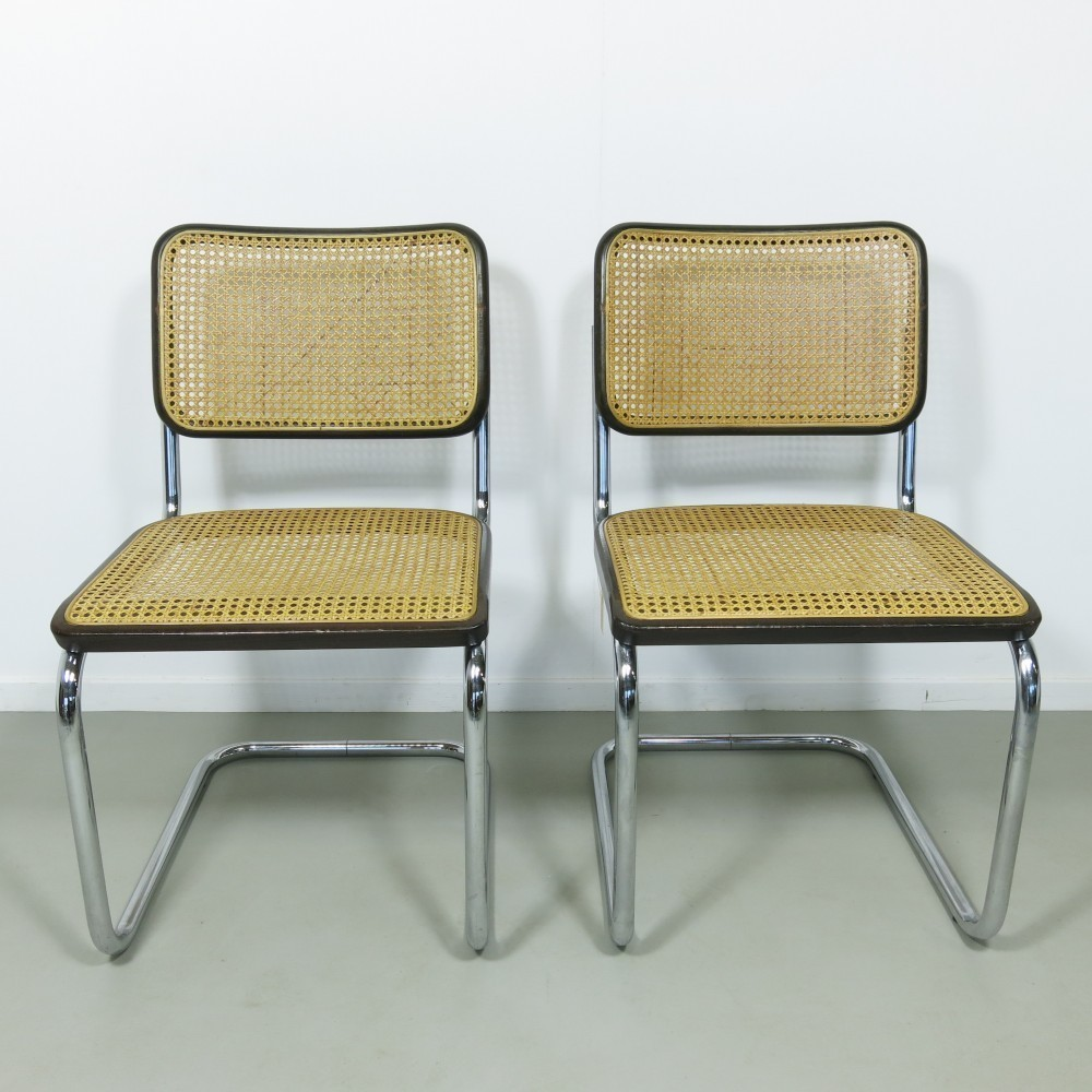 pair of model b32 dinner chairs by marcel breuer for thonet 1960s 54559. Black Bedroom Furniture Sets. Home Design Ideas