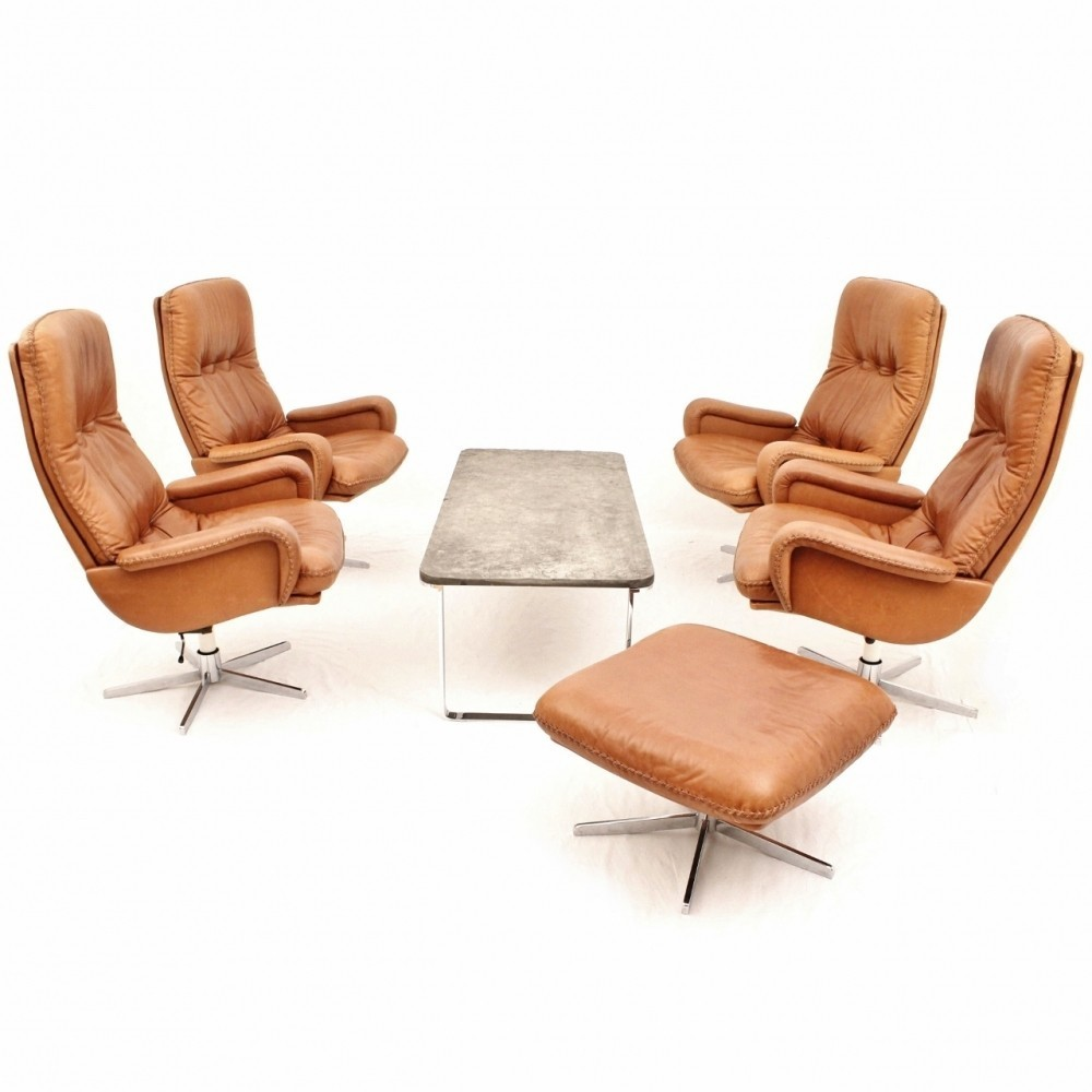 Swiss design seating group in cognac leather by de sede for Cognac design