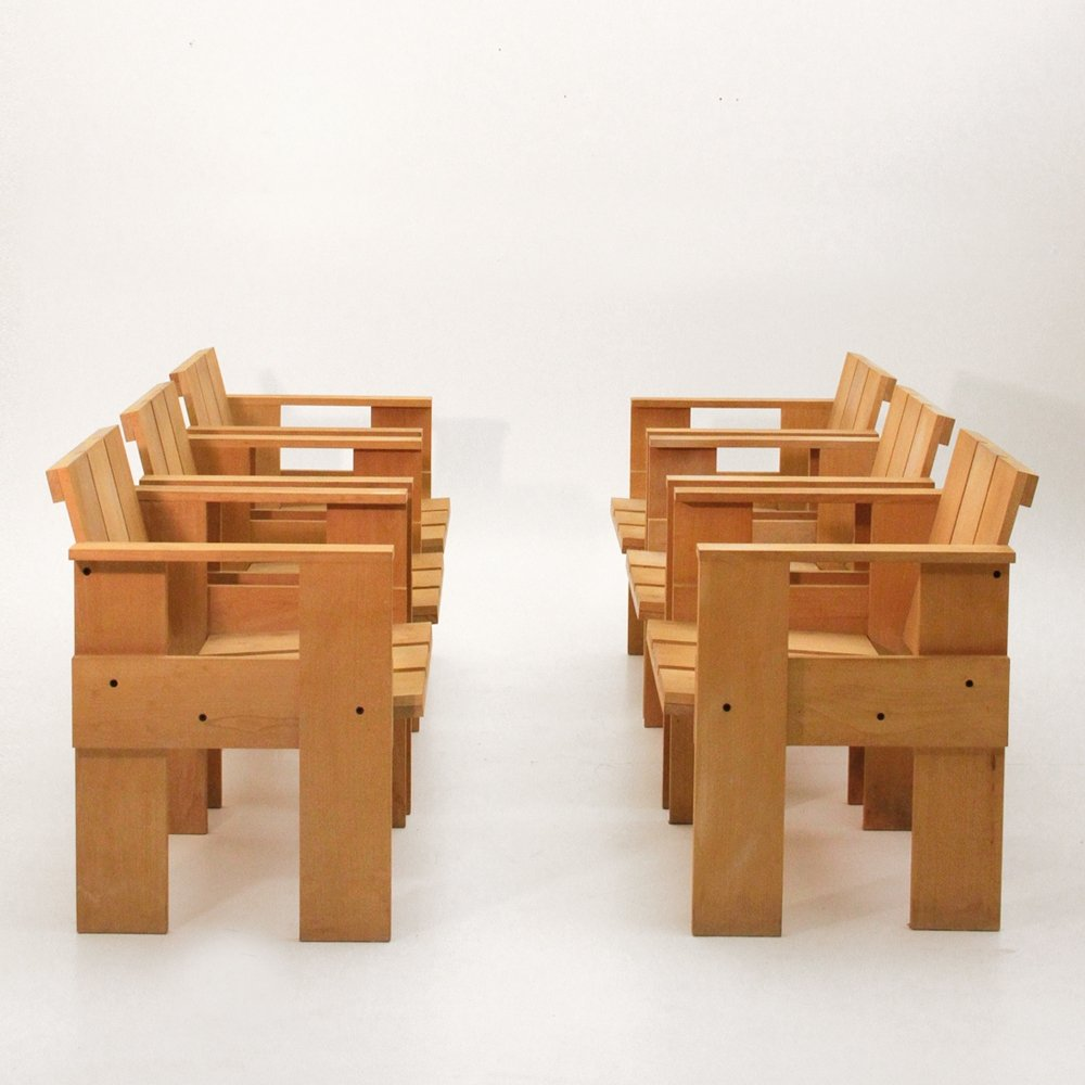 Miraculous Set Of 6 Crate Arm Chairs By Gerrit Rietveld For Cassina Download Free Architecture Designs Scobabritishbridgeorg