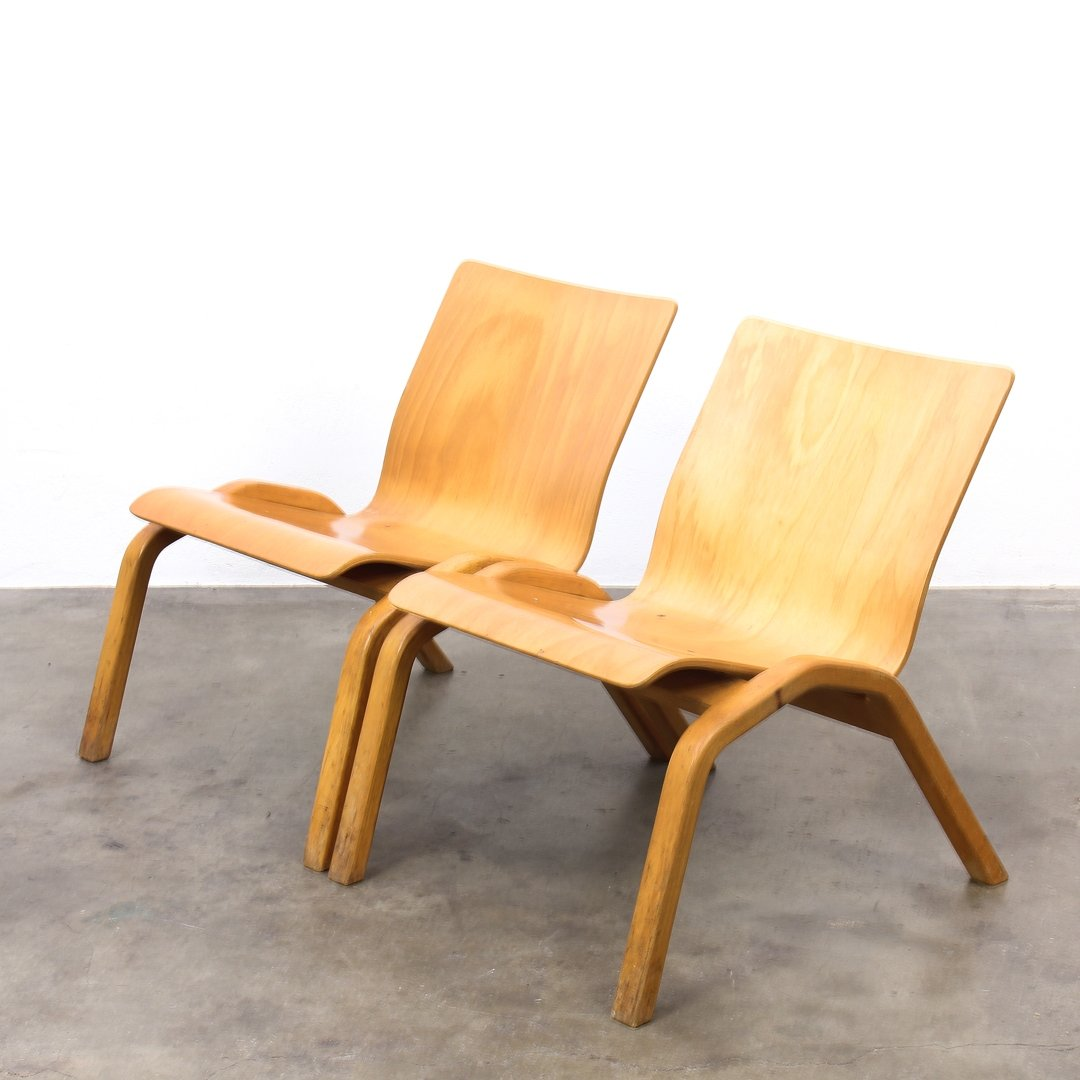 2 x Plywood lounge chair by Zwiesel Schott 1960s