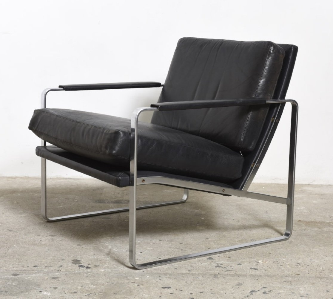 Fabricius Black Leather Armchair, Model 710 By Walter Knoll
