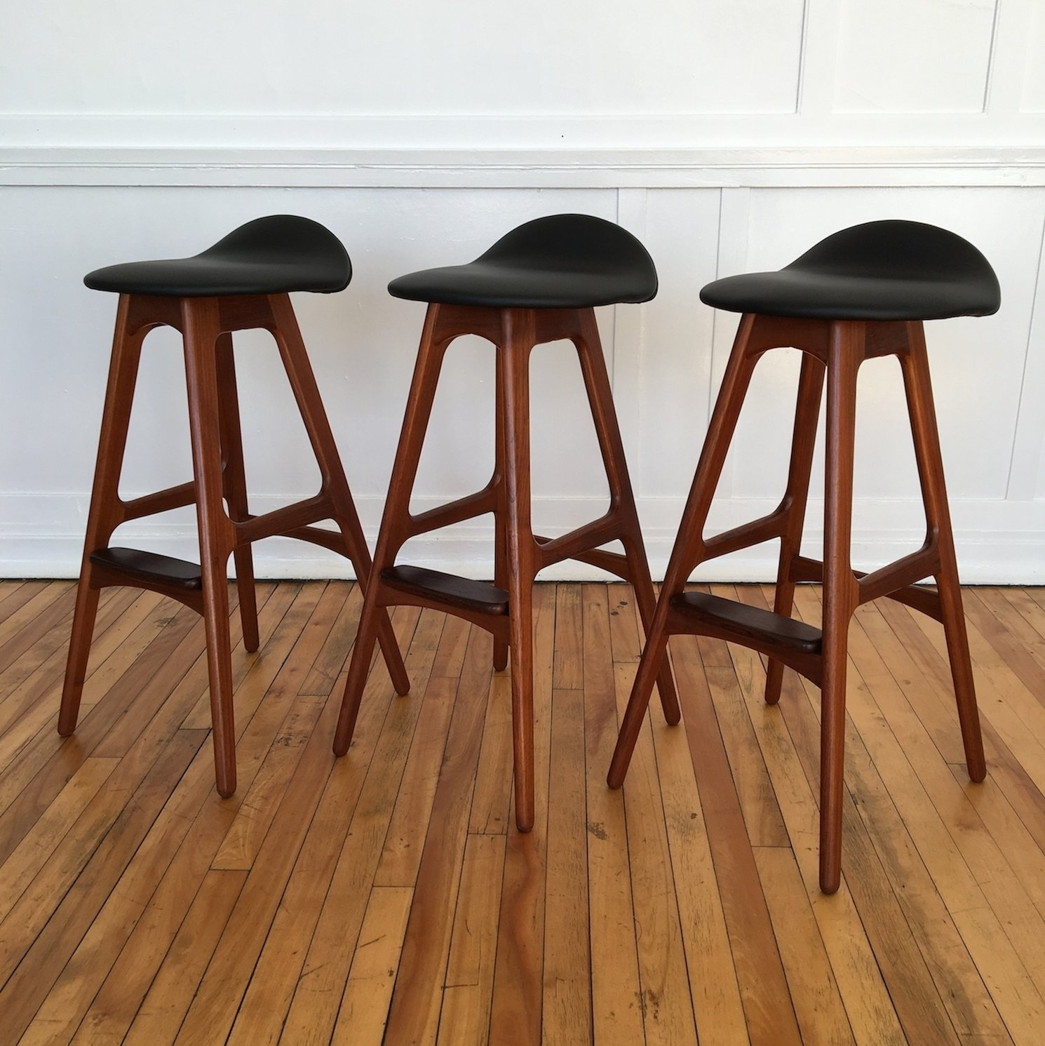 Set of 3 stools by Erik Buch for OD M¸bler 1960s