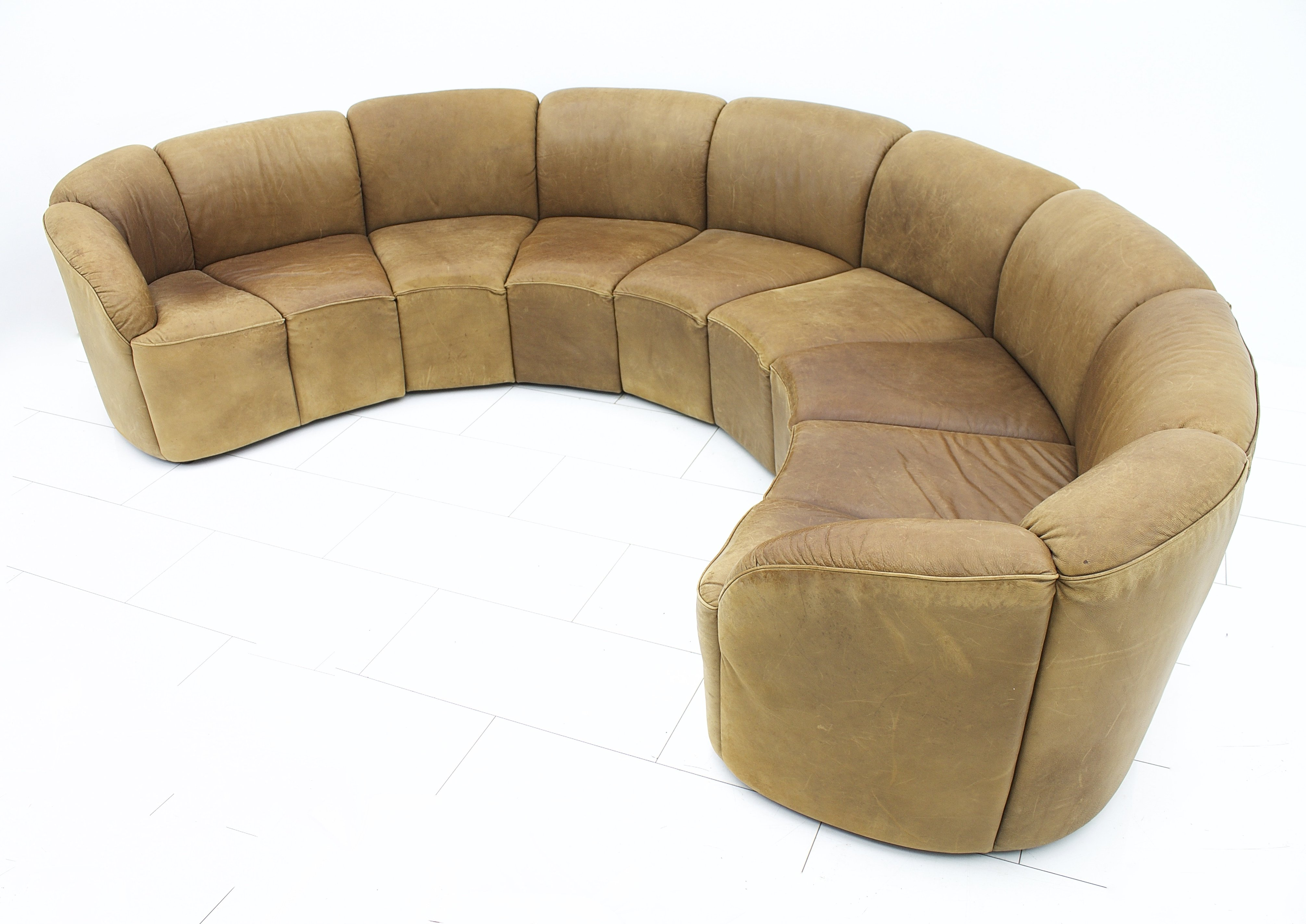 Half Round Leather Sofa By Walter Knoll Late 1960s