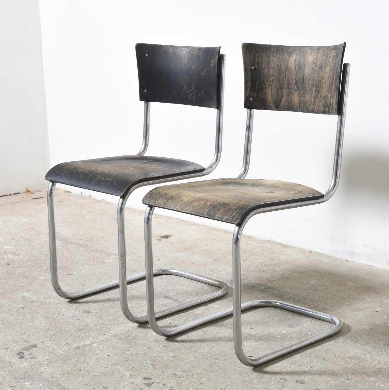 Pair Of Bauhaus S43 Cantilever Tubular Chairs By Mart Stam