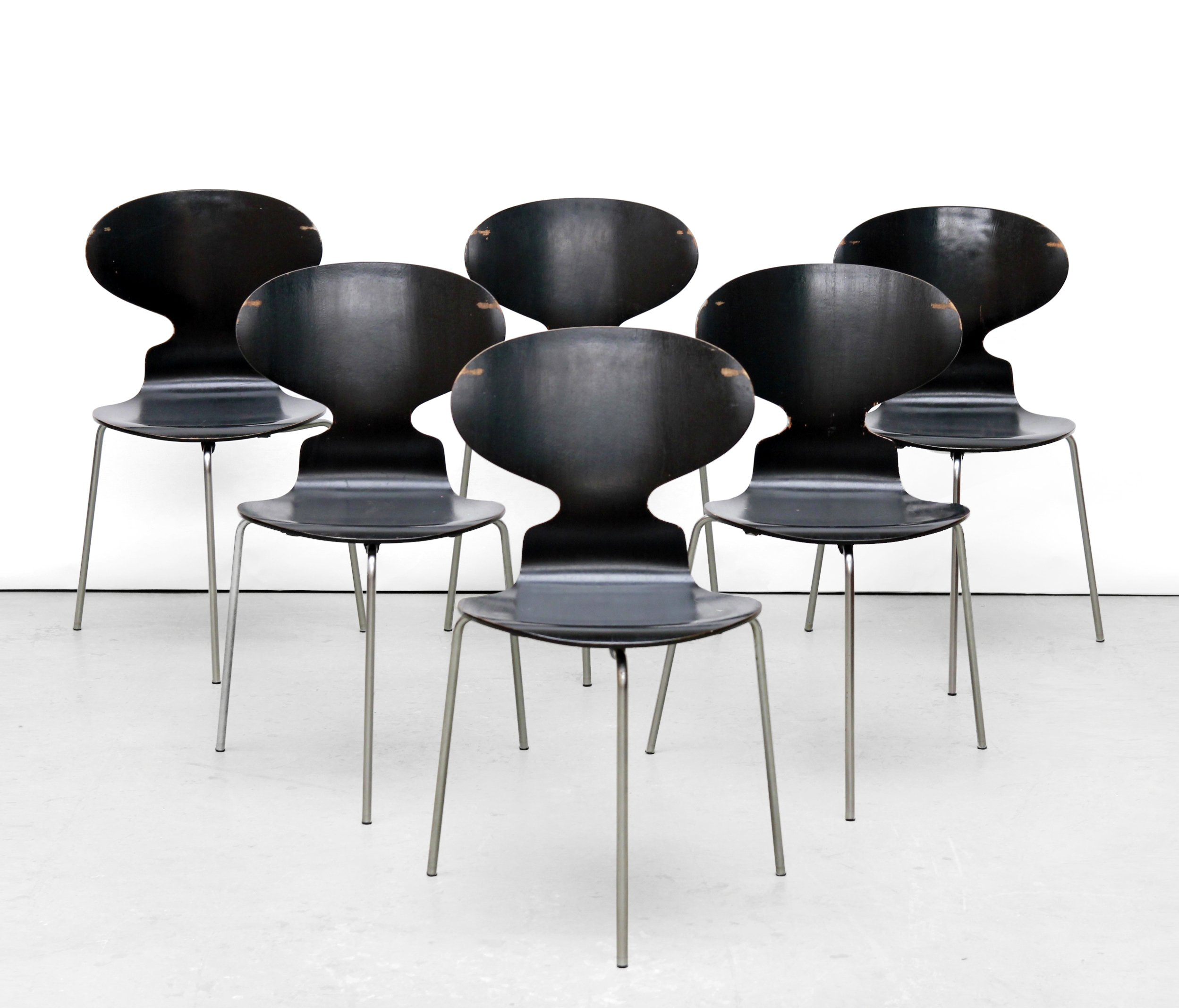 6 x 3100 ant dinner chair by arne jacobsen for fritz. Black Bedroom Furniture Sets. Home Design Ideas