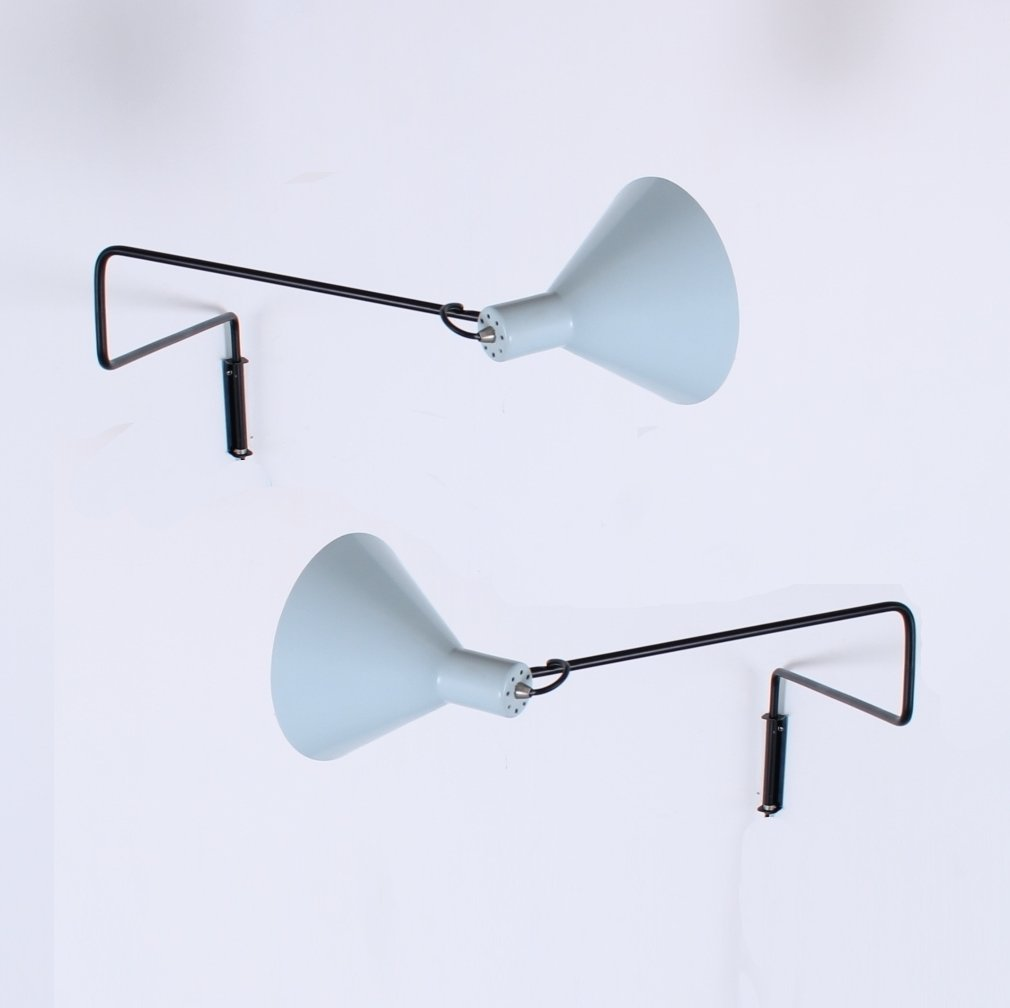 2 Elbow Paperclip Swinging Arm Wall Lamps From The Fifties