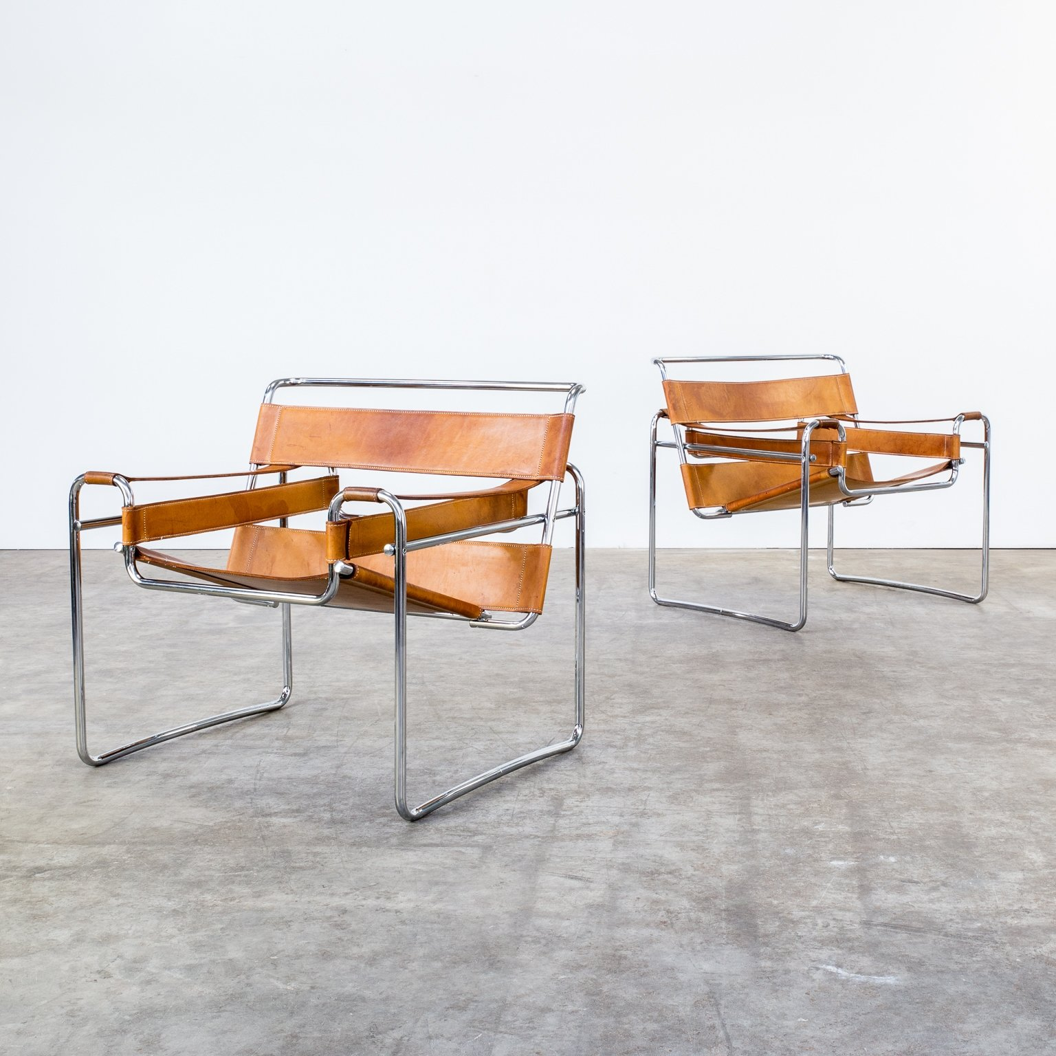 set of 2 wassily b3 lounge chairs from the sixties by marcel breuer for gavina 60432. Black Bedroom Furniture Sets. Home Design Ideas