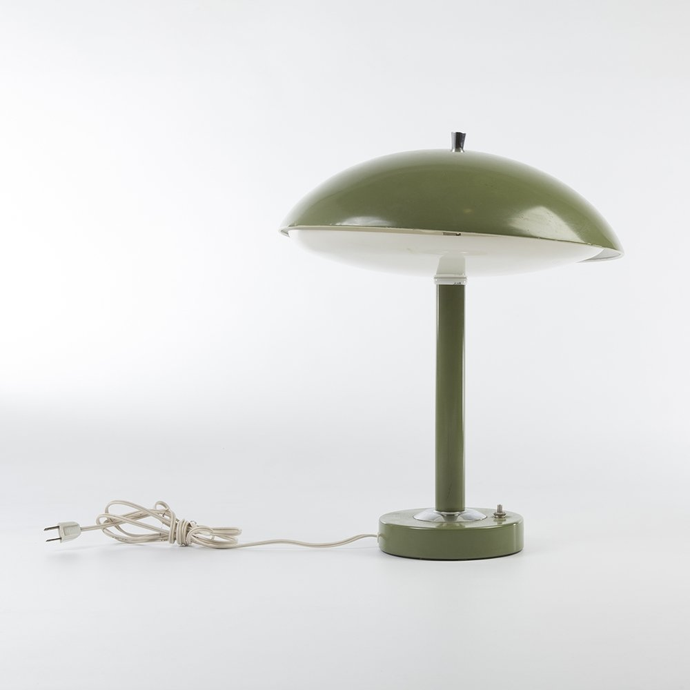 Original Mid Century Green Desk Lamp With Cable