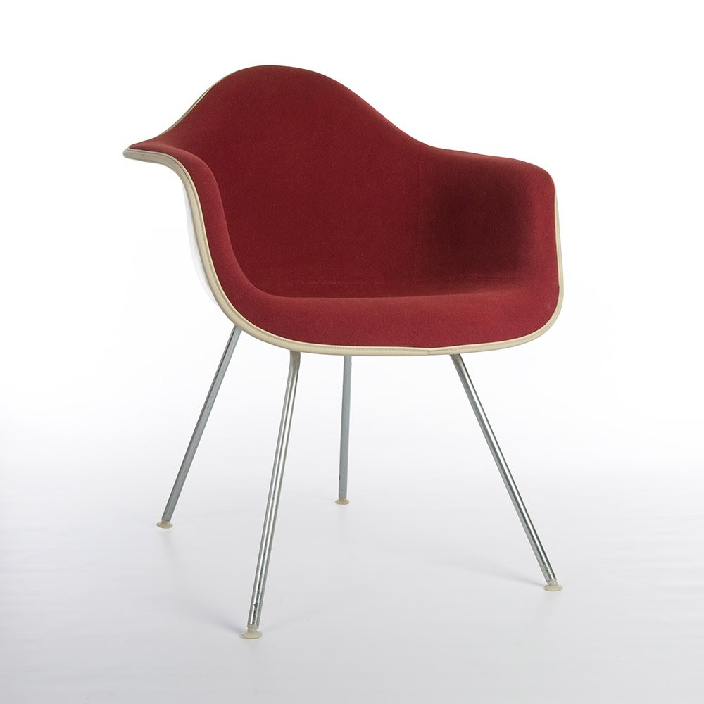 original red upholstered eames dax chair 60838