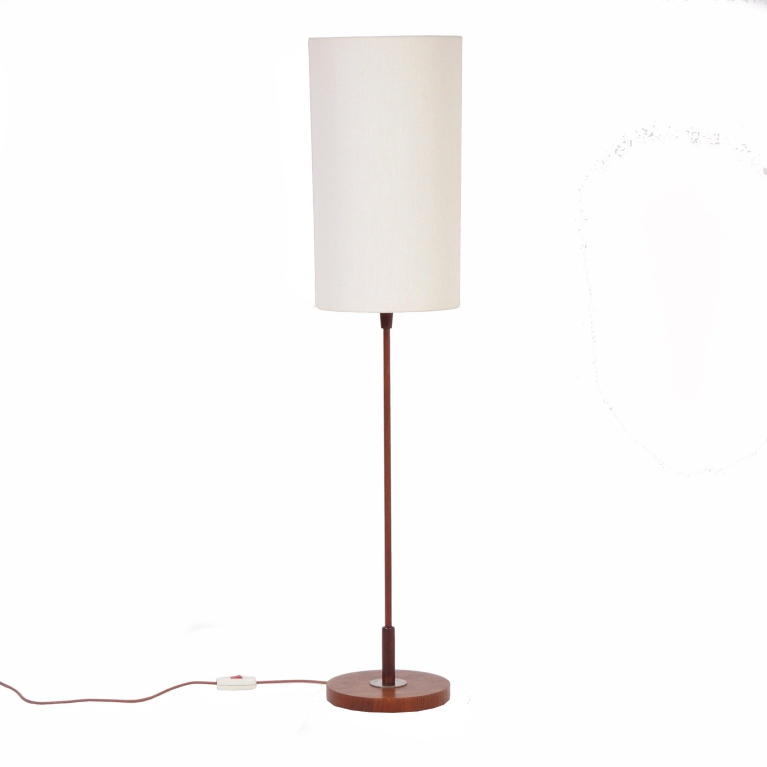 Vintage floor lamp with cylindrical shade teak base for Giant retro floor lamp the range