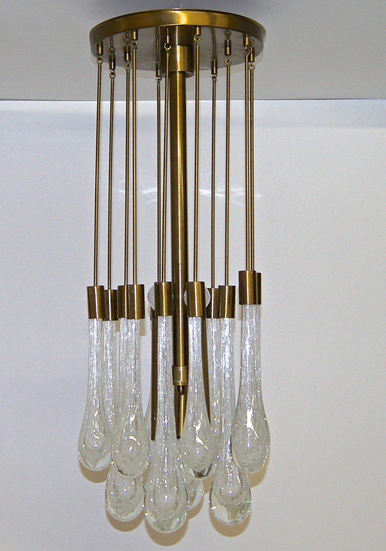 Brass Controlled Bubble Glass Teardrop Flush Mount Chandelier