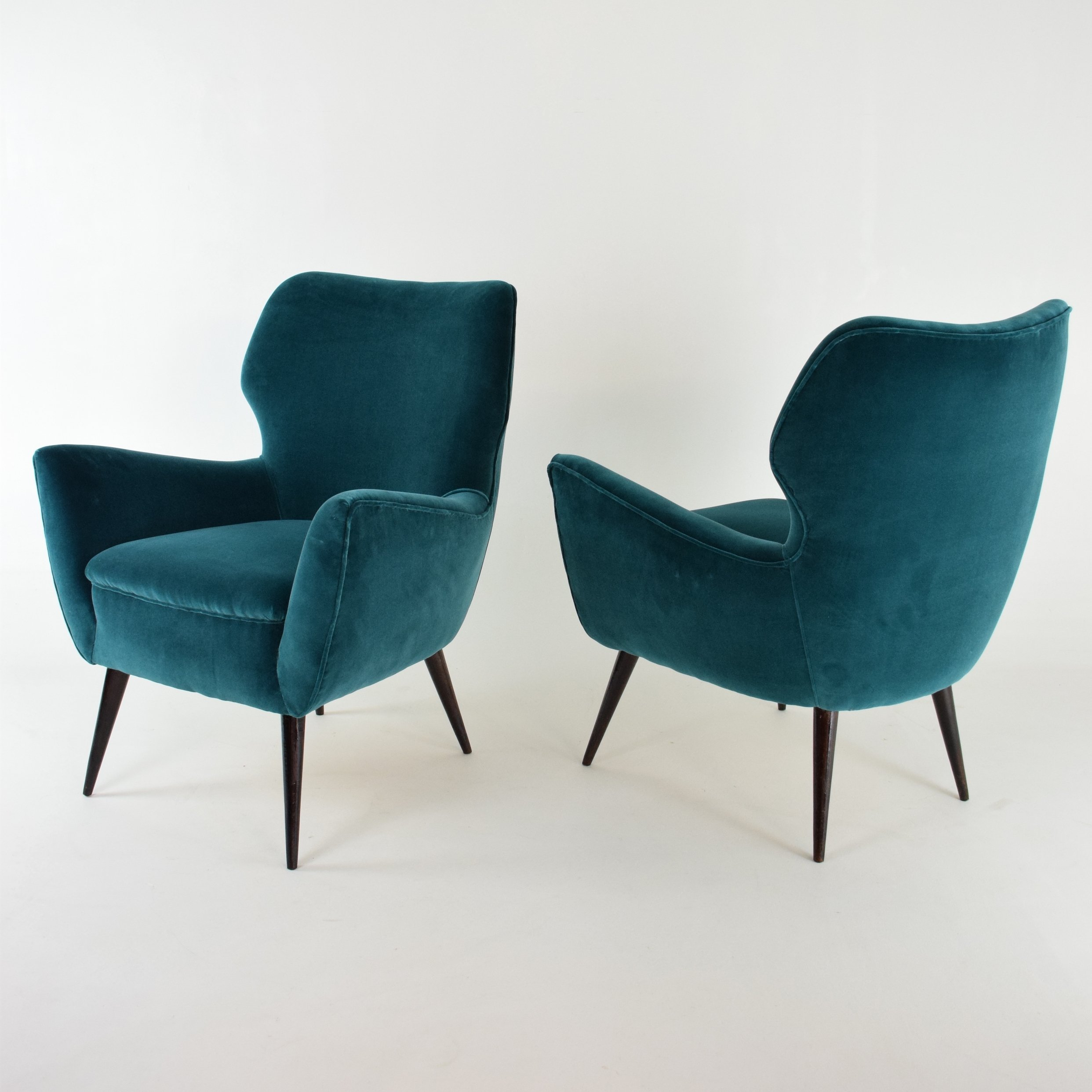 Italian Blue Velvet Armchairs 1960s Set Of 2