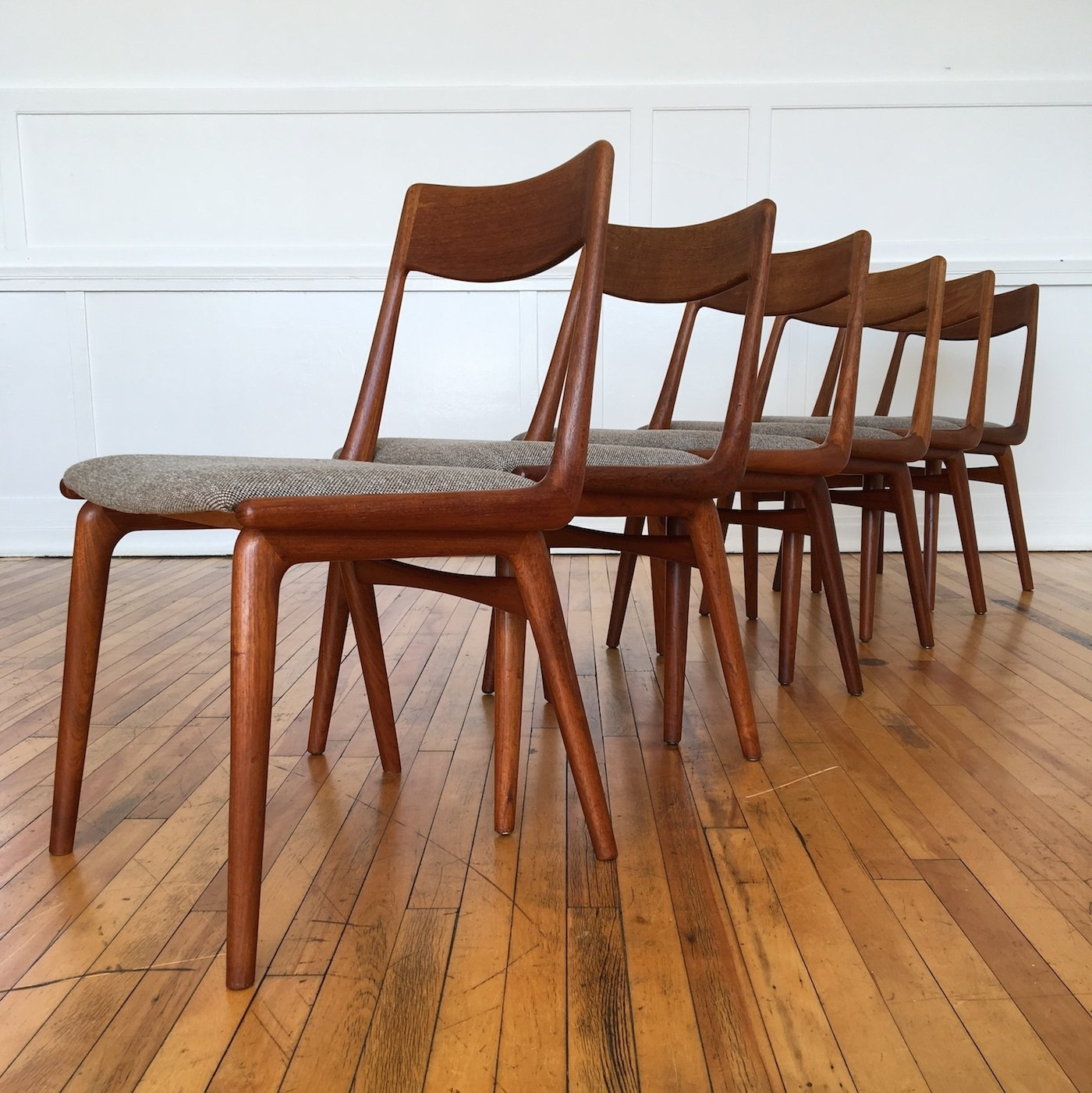Perfect Set Of Six Vintage Midcentury Danish Teak Boomerang Dining Chairs By Erik  Christensen In Kvadrat Wool