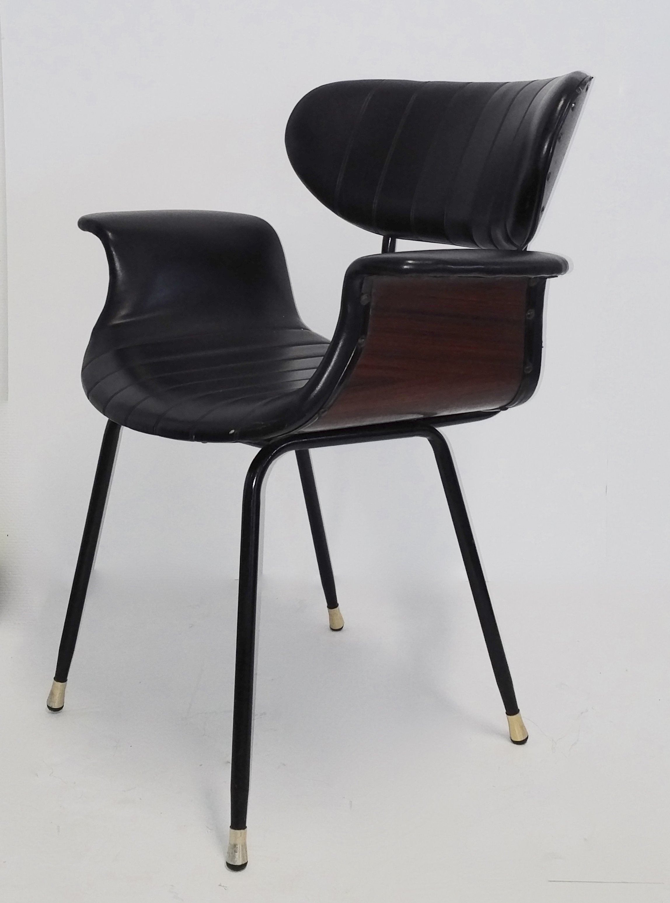 Italian plywood & rosewood armchair with brass feet, 1950s ...
