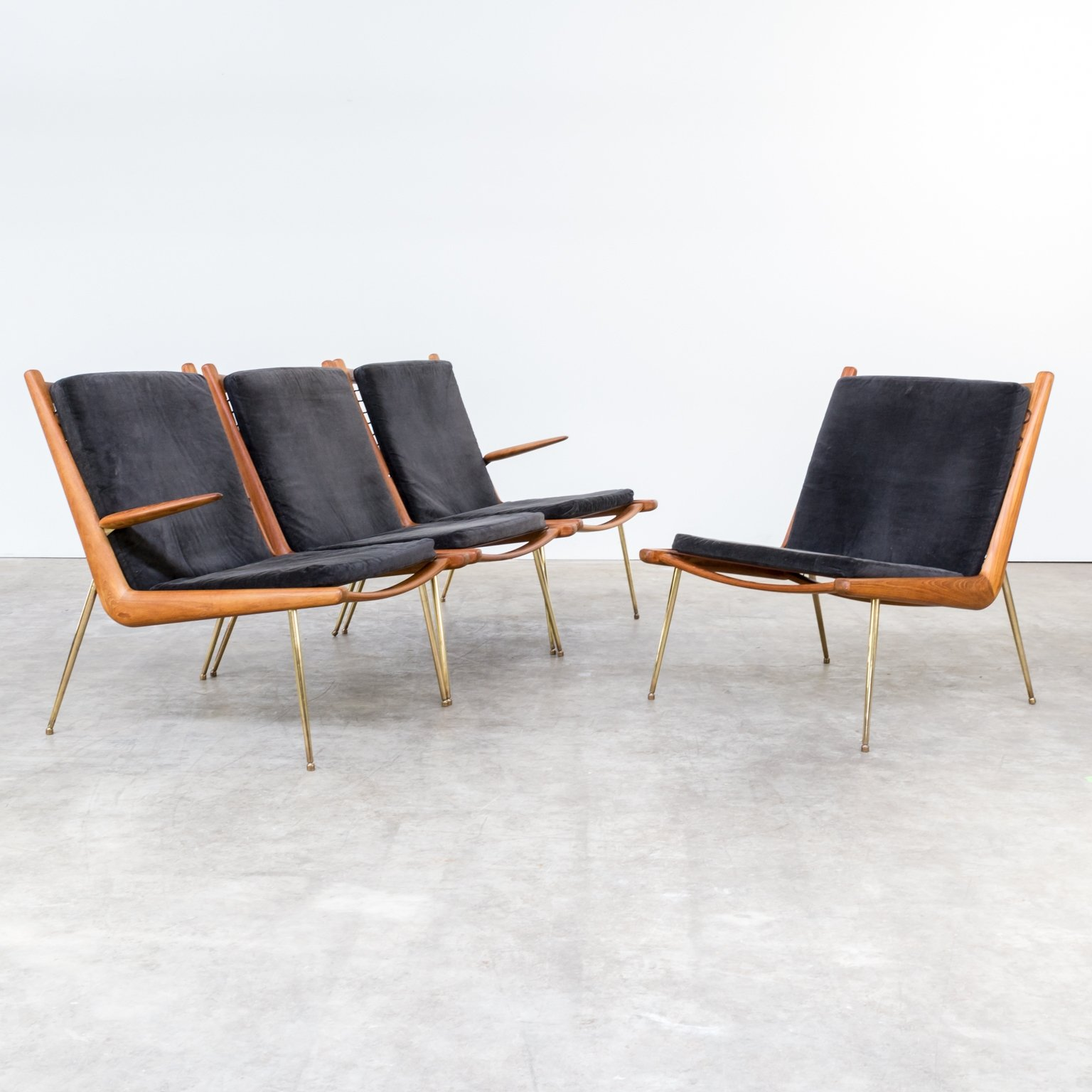 set of 4 boomerang   fd135 lounge chairs by peter hvidt and orla m%C3%B8lgaard nielsen for france and son 1960s Top Result 50 Elegant Boomerang Coffee Table