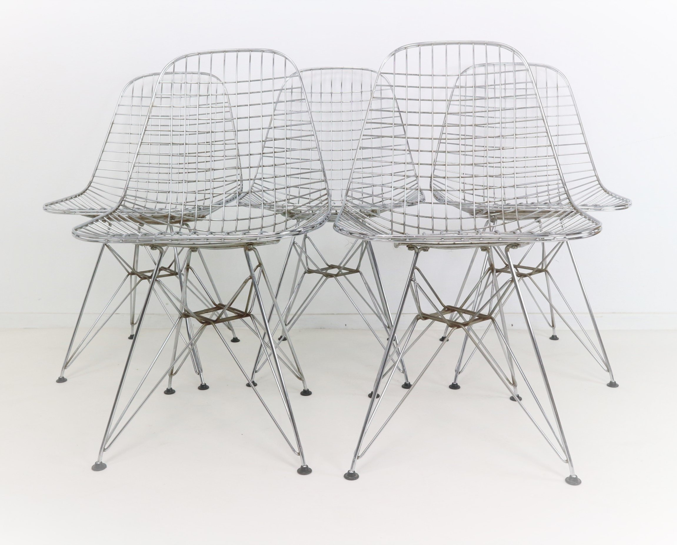 Set Of Five Eames DKR Eiffel Base Wire Chairs For Vitra, 1970s