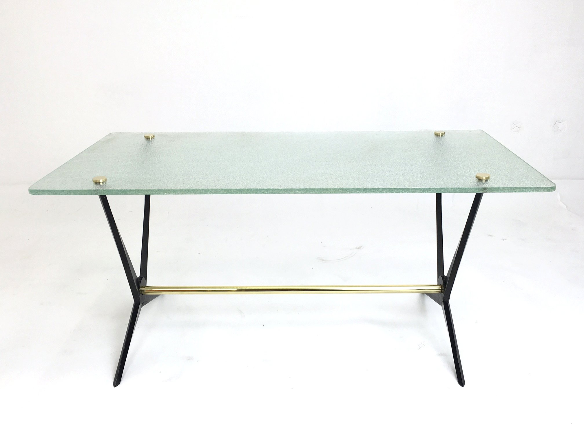 Black Cast Iron Brass Side Table By Angelo Ostuni S - Black and brass side table