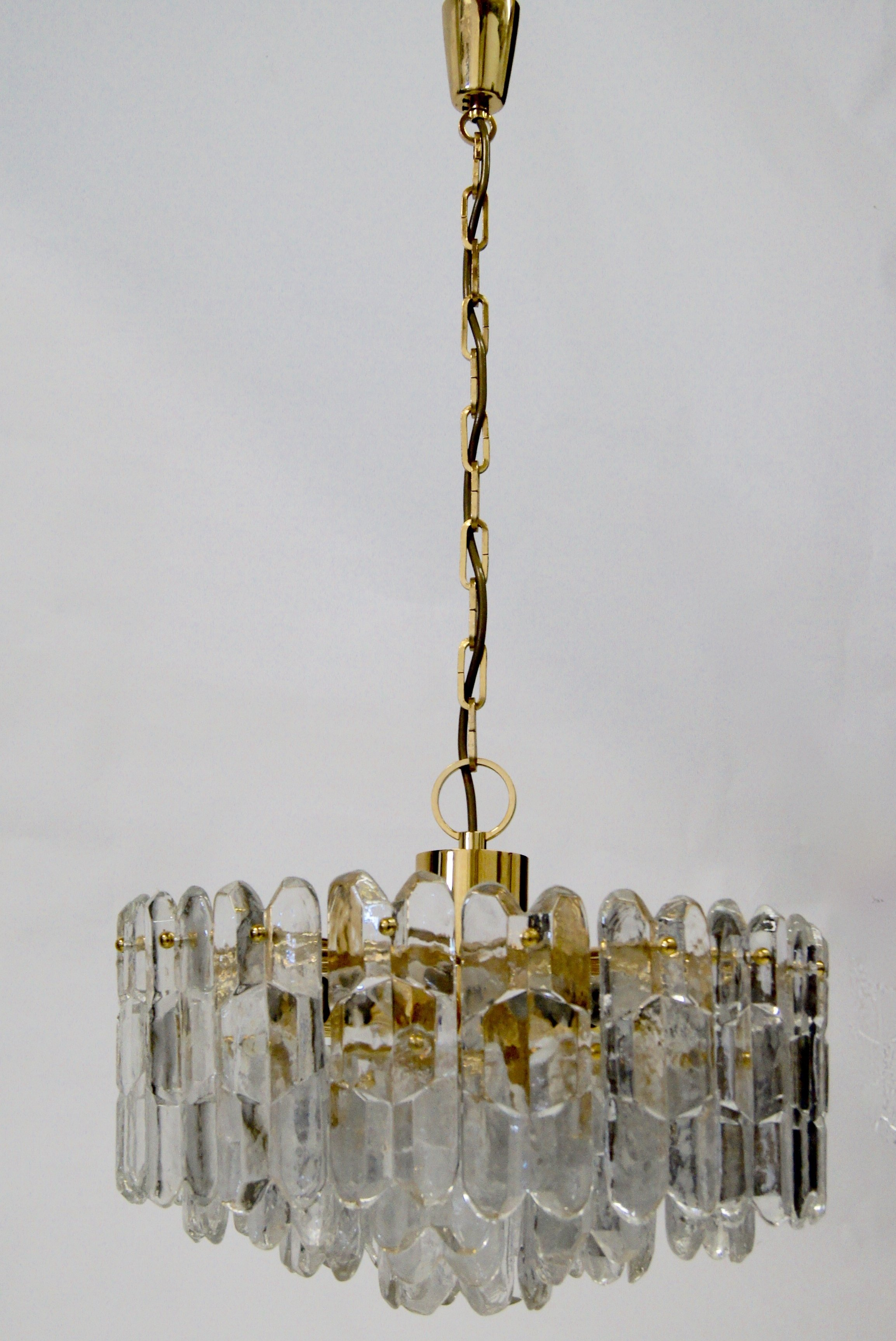 Kalmar gold plated ice glass chandelier 1960s 63774 kalmar gold plated ice glass chandelier 1960s mozeypictures Image collections