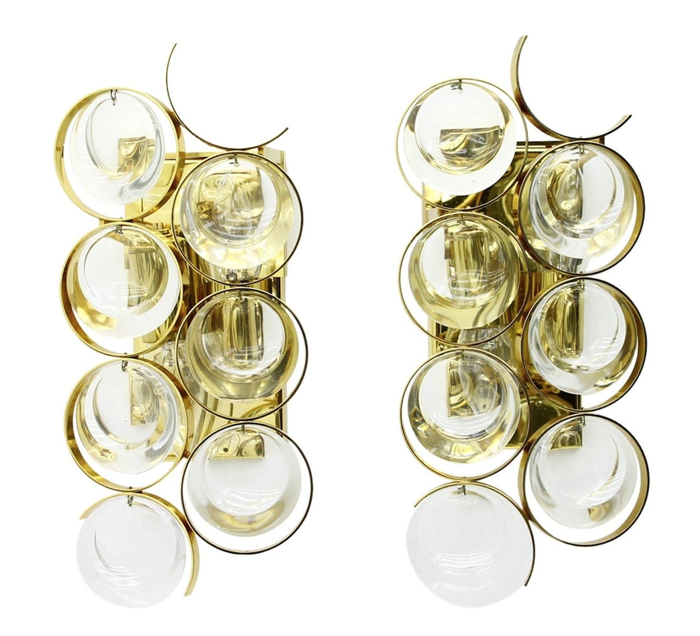 Wall Sconces Set Of 2 : Set of 2 Gilded wall sconces wall lamps from the sixties by Unknown Designer for Palwa #64099