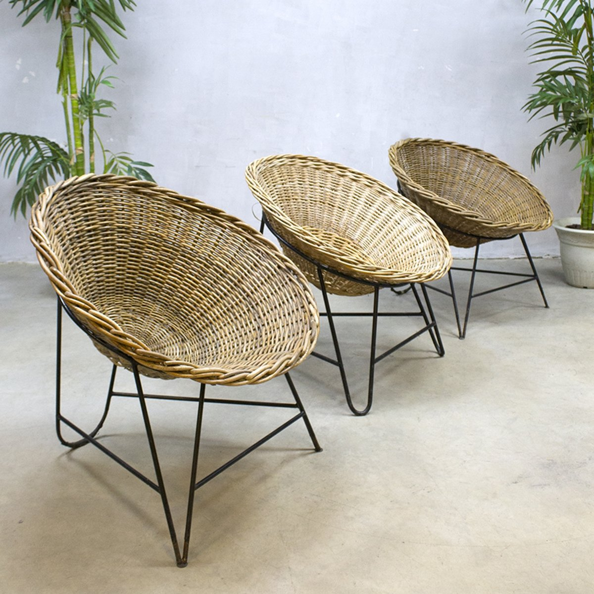 2 X Rattan Lounge Chair, 1950s