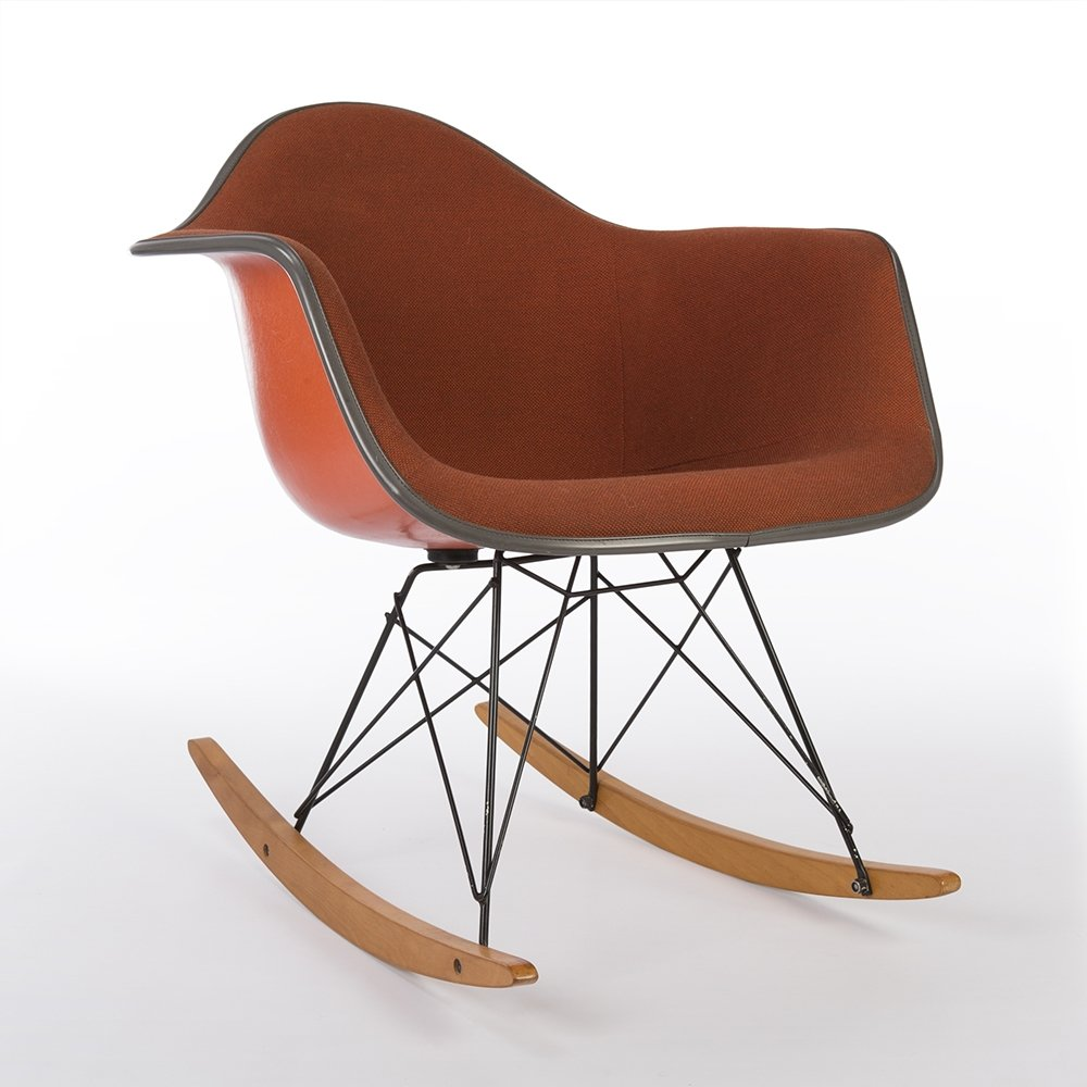 Original herman miller orange upholstered eames rar arm shell chair 64586 - Herman miller chair eames ...